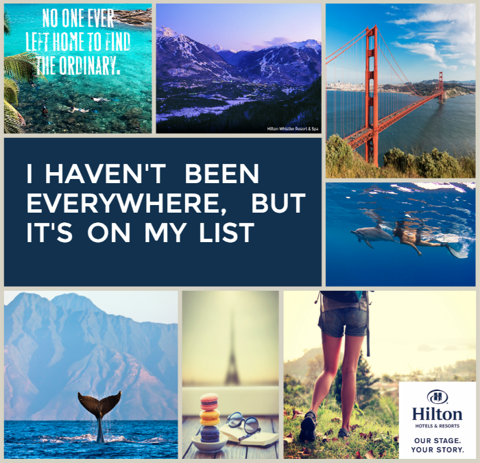 Create YOUR own Dream Travel HIlton Story Board to start dreaming of the travels that you would like to take!