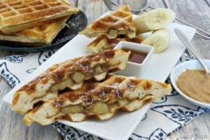 Peanut Butter Banana Stuffed Waffles