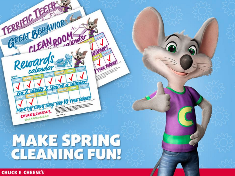 Print out these FREE Chore Charts from Chuck E. Cheese and then bring them into the store for FREE tokens!