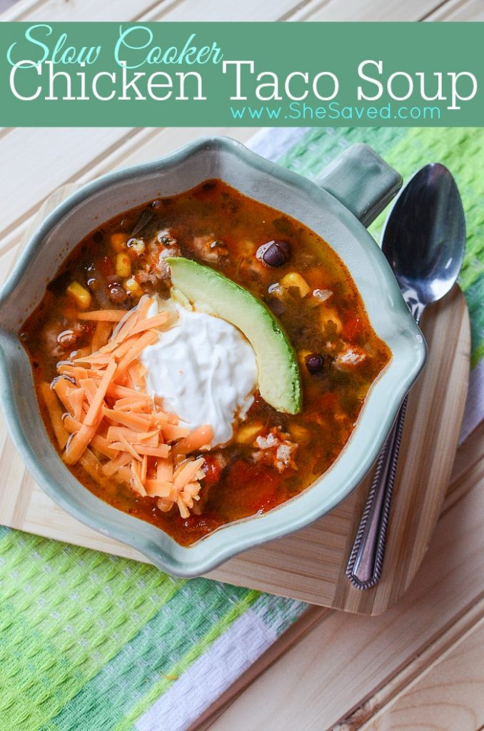 This Slow Cooker Chicken Taco Soup Recipe is an easy and light (but delicious!) meal that will quickly become a favorite dinner for your family!