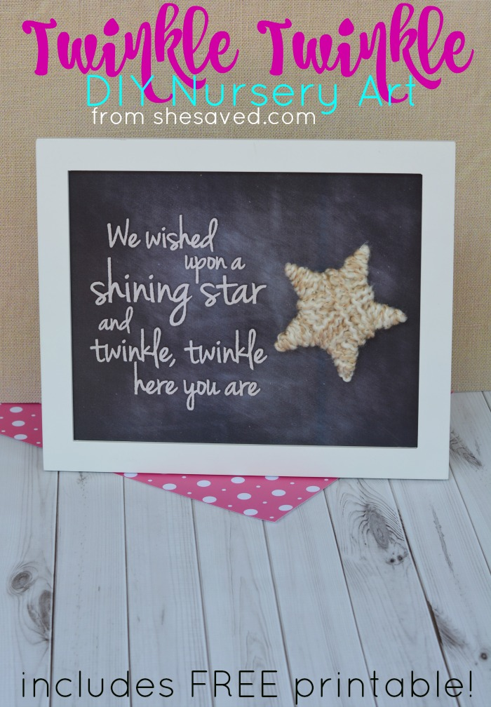 If you are looking for a neat baby gift, make sure to print out this Twinkle Twinkle DIY Nursery Art FREE Printable which makes a darling gift as art work for nursery or baby room!