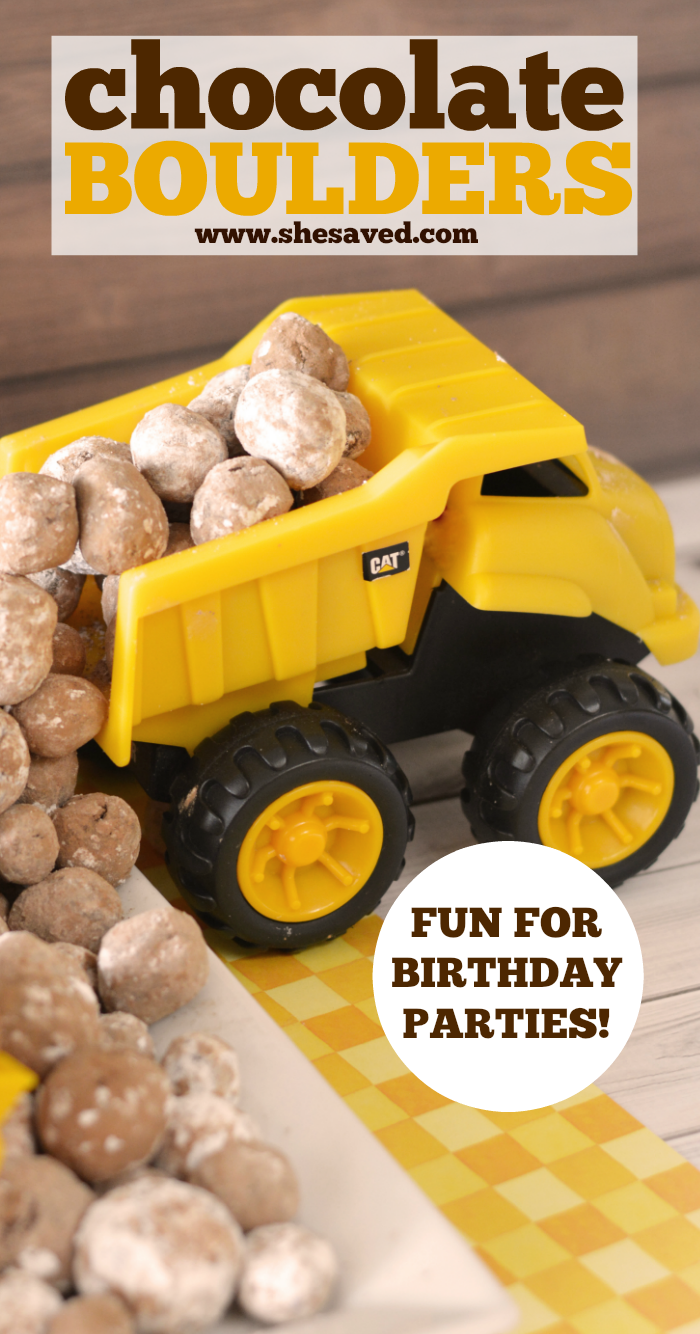 Chocolate Boulders are a cute way to decorate for Construction Birthday Parties