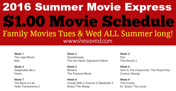 Print out this list of $1 Summer Movies for summer fun with the family!