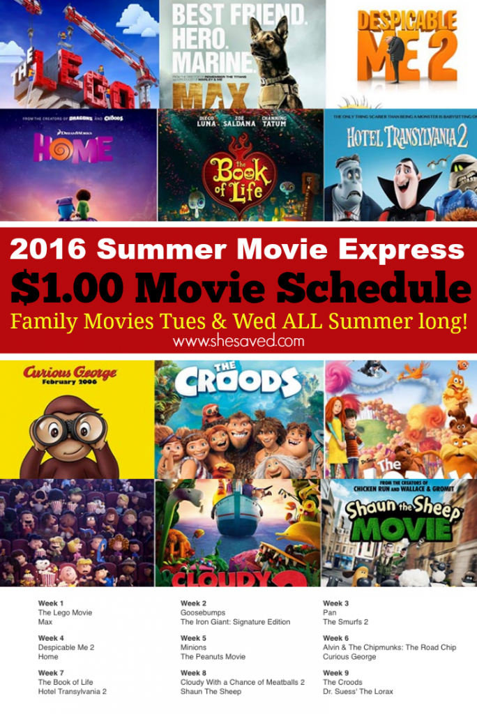 Make sure to print out this $1 Summer Movie Schedule for Regal Cinemas. Great and affordable family fun that is very budget friendly!