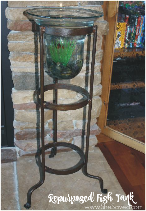 This candle holder made fish tank is one of my very favorite repurposed items, I love it and it was so easy!