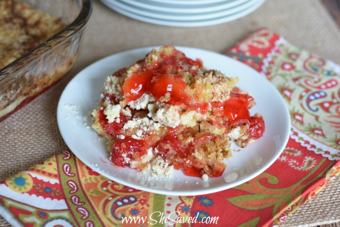 This delicious and easy cherry cobbler makes a wonderful and very affordable dessert option for just about any gathering!