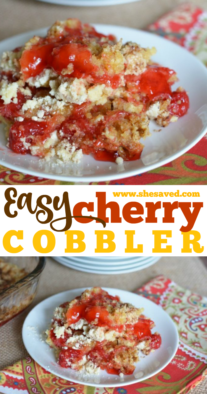 Easy Cherry Cobbler recipe is the perfect quick and delicious dessert