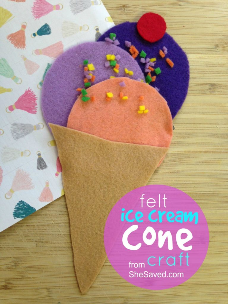 This felt ice cream cone craft is so easy and fun for little hands, great for preschoolers and even older kids. These make for a great party activity as well!