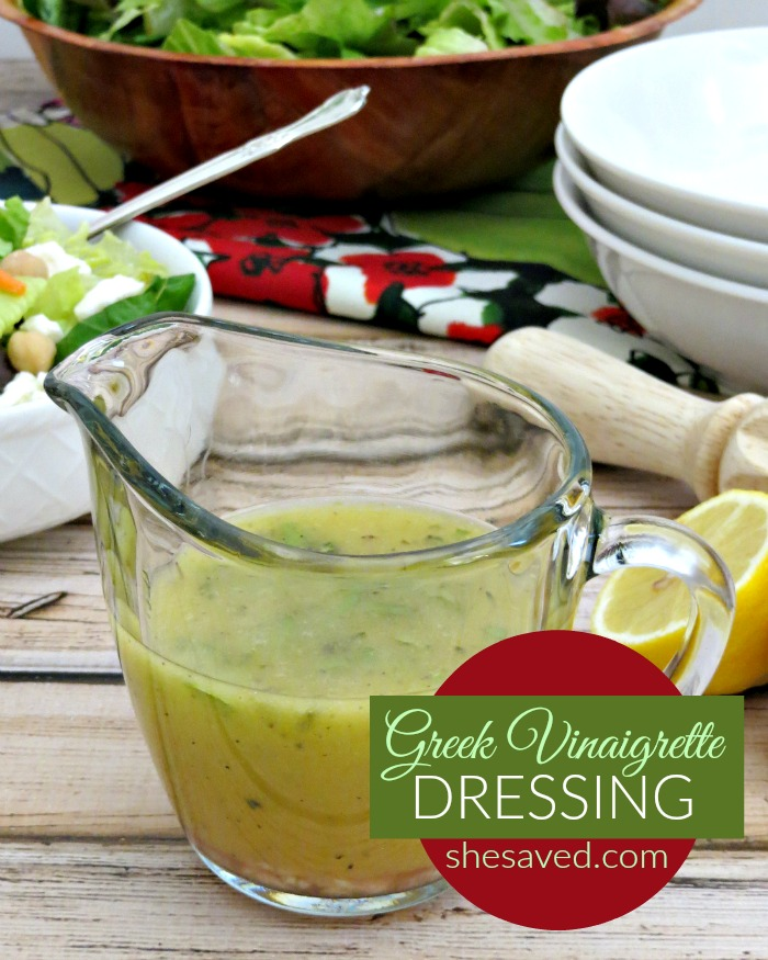 This homemade Greek Vinaigrette Dressing recipe is so easy and SO delicious, perfect for summer salads or even for a light dip option.