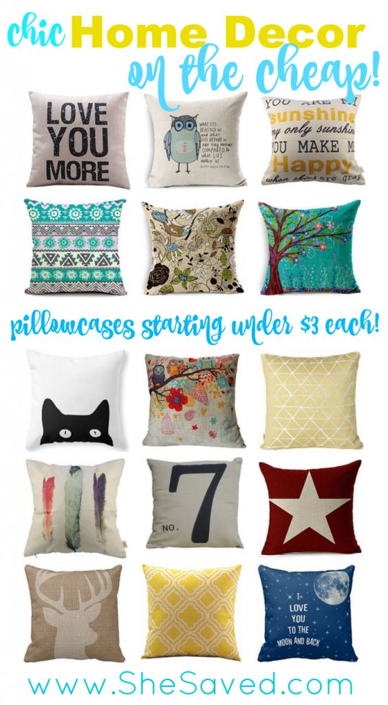I'm a huge fan of home decor on the cheap and it doesn't get much better than pillowcases for under $3.00 each!! Great way to add a pop of color to a room!