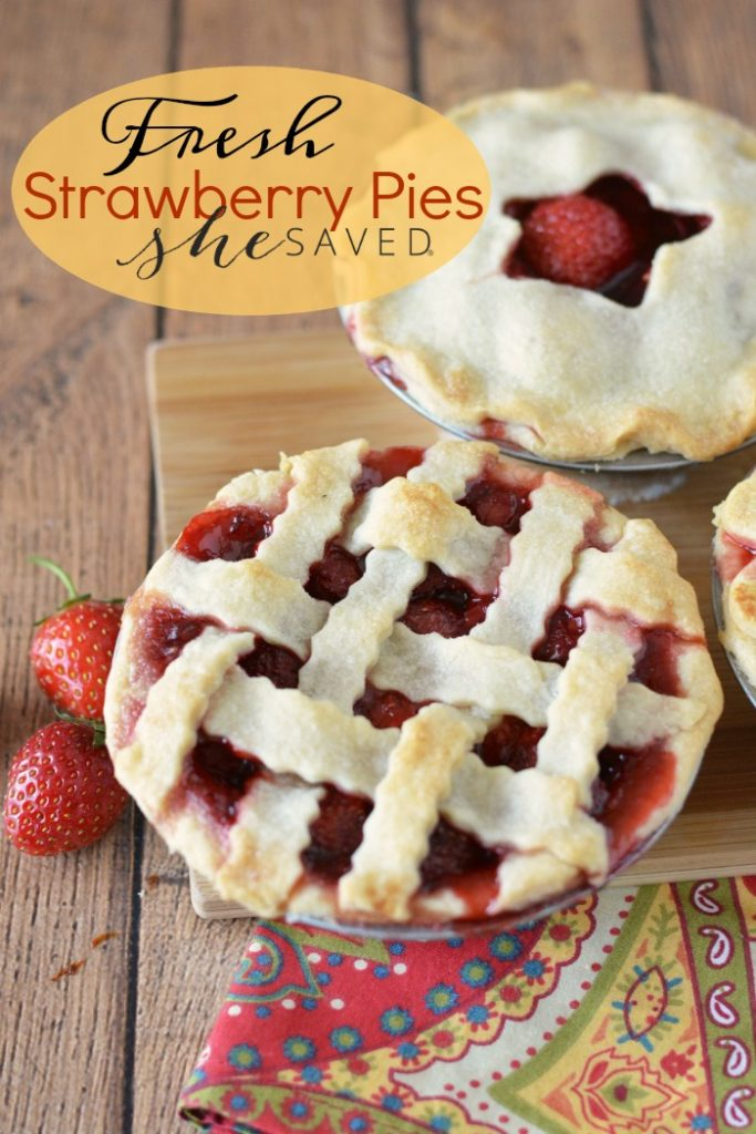 If you love strawberries and are looking for a great recipe, make these fresh strawberry pies! They are so fun to make, and they are also an easy and delicious dessert!