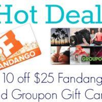 HOT Deal! Fandango Gift Cards as Low as $7.25!