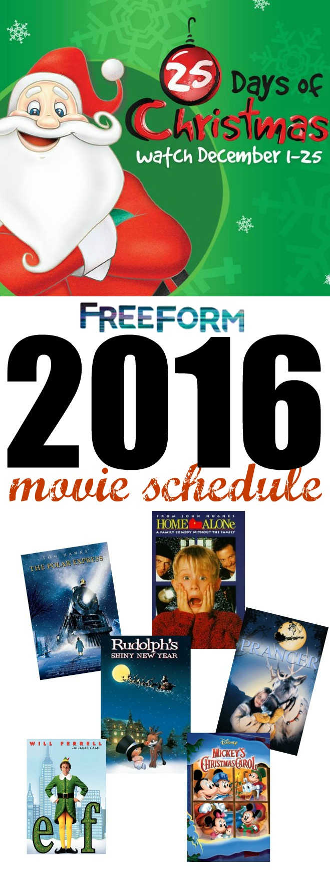 Freeform Christmas Schedule.Freeform Countdown To 25 Days Of Christmas Tv Schedule For