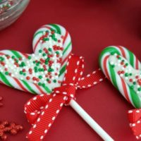 Candy Cane Hearts Lollipops