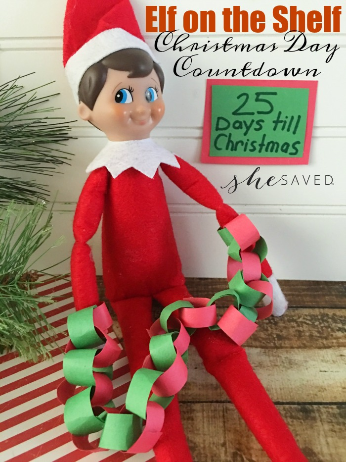 This Elf on the Shelf Christmas Countdown is a fun one that your kids will love, and I'll be sharing more ideas in the coming days! Christmas Day Countdown. What You Need: Red and green colored paper; Scissors; Hot glue/hot glue gun; Directions: 1. Measure and .