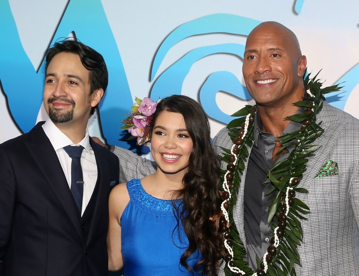 "(L-R) Songwriter Lin-Manuel Miranda, actors Auli'i Cravalho and Dwayne Johnson attend The World Premiere of Disney's ""MOANA"" at the El Capitan Theatre on Monday, November 14, 2016 in Hollywood, CA. (Photo by Jesse Grant/Getty Images for Disney)"