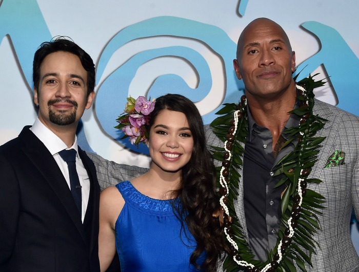 "Songwriter Lin-Manuel Miranda, actors Auli'i Cravalho and Dwayne Johnson attend The World Premiere of Disney's ""MOANA"" at the El Capitan Theatre on Monday, November 14, 2016 in Hollywood, CA. (Photo by Alberto E. Rodriguez/Getty Images for Disney)"