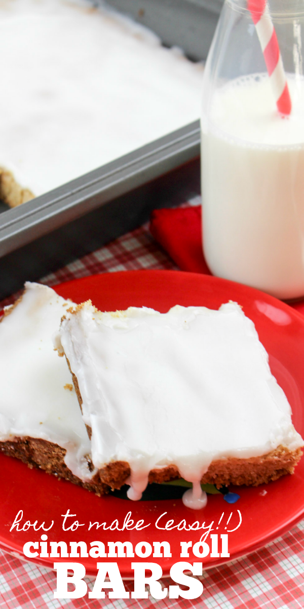 Easy Cinnamon Roll Bars made from box cake mix
