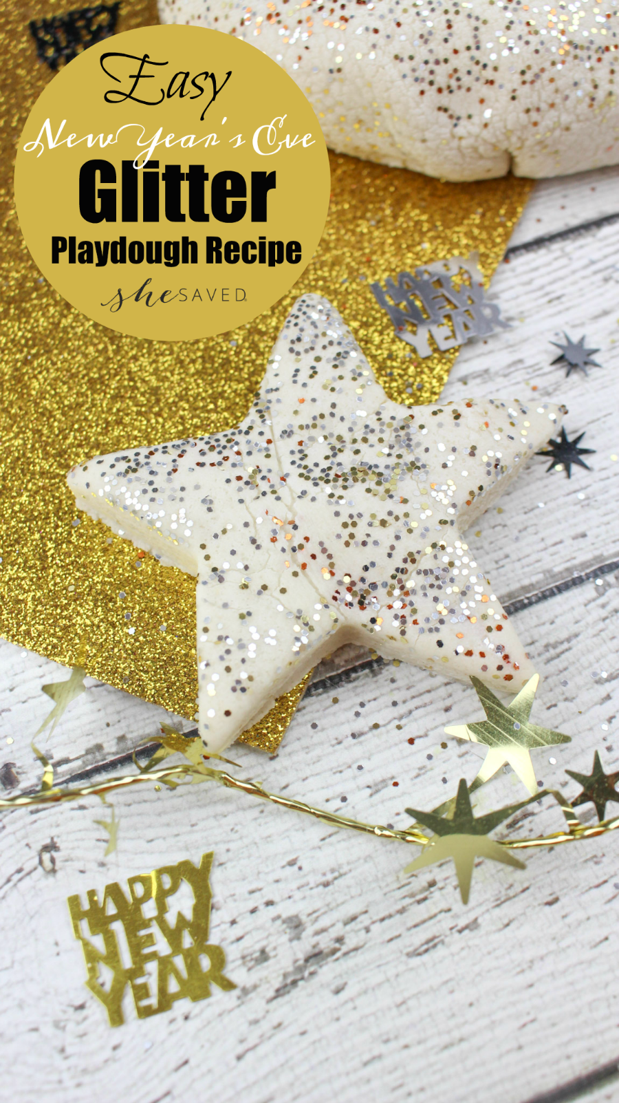 Looking for a fun activity for the kids on New Year's Eve? Check out my easy New Year Glitter Playdough Recipe!