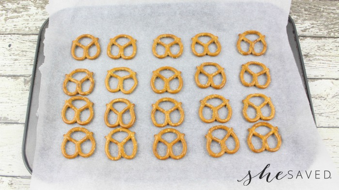 Pretzels on Cookie Sheet