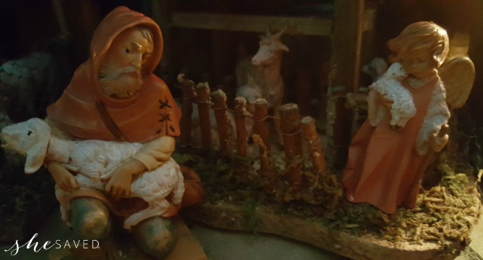 The sheep herder and angle with little lamb from the Fontanini nativity collection