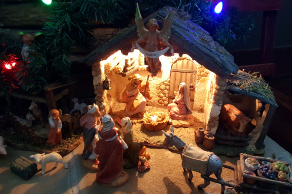 Nativity Characters around baby Jesus from the Fontanini Nativity collection