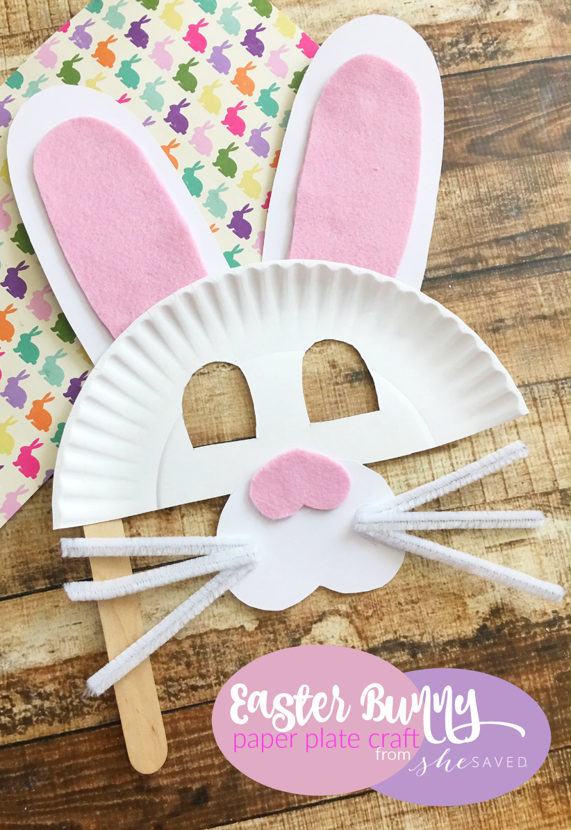 Easter Bunny Paper Plate Mask Craft Easy Easter Craft