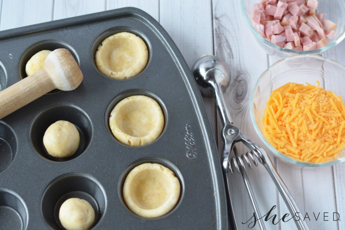 Making Ham and Cheese Cups
