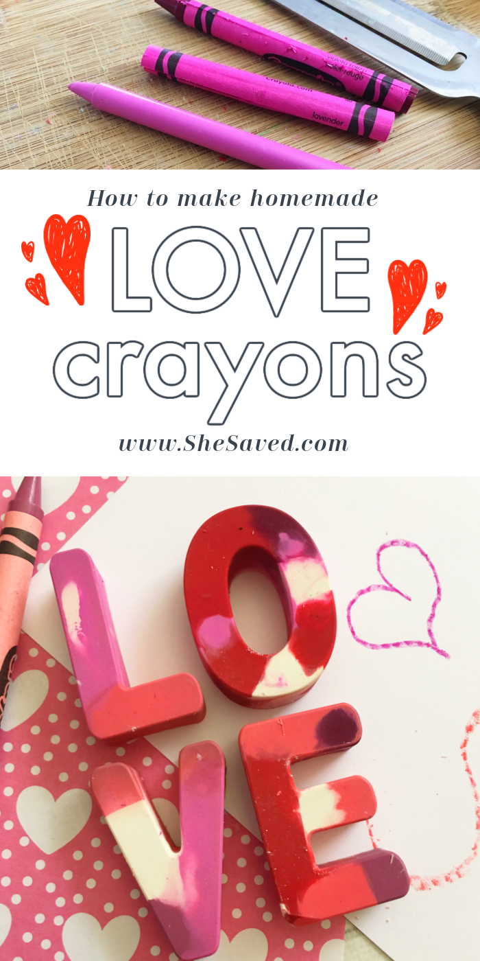 Valentine Love Crayons Made from Melted Crayons