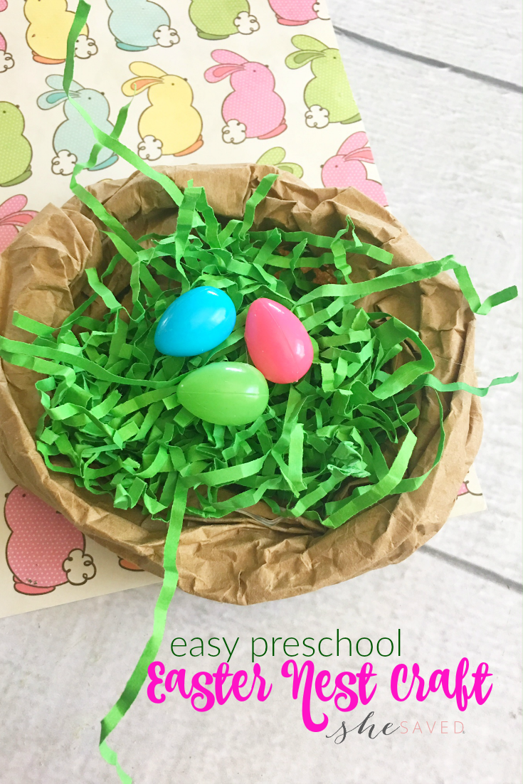This EASY Easter Nest Craft is perfect for preschool or sunday school and so much fun for little hands!