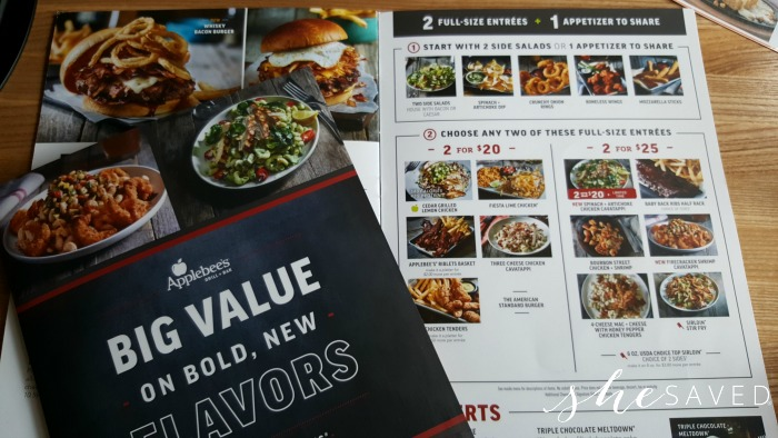 picture about Applebees Printable Menus identified as Applebees Contemporary 2 for $20 and 2 for $25 Menu Goods - SheSaved®