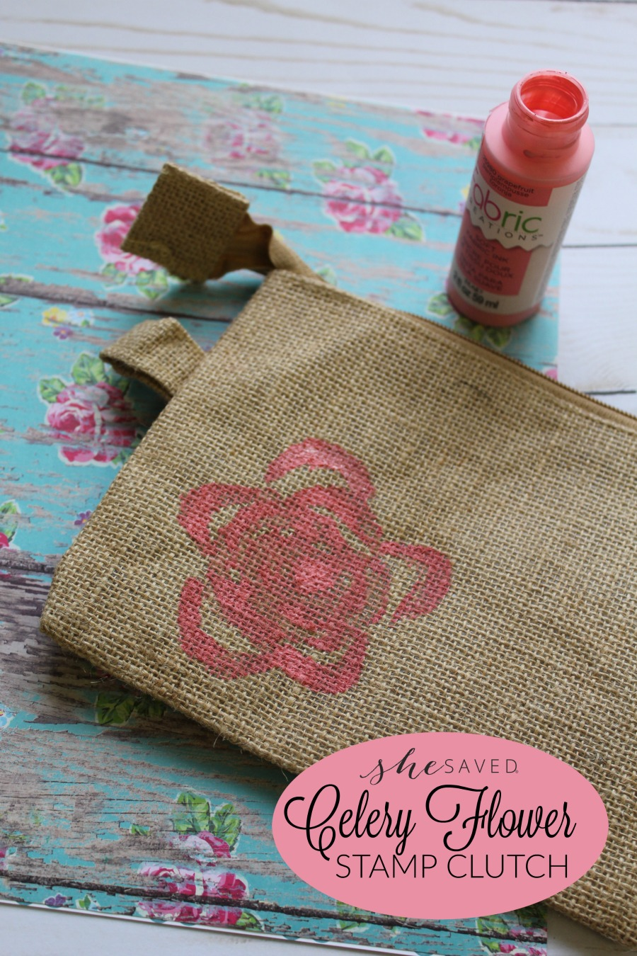 Such a fun and easy craft, this Celery Flower stamp clutch is such a cute and inexpensive DIY project, great for Mother's Day!