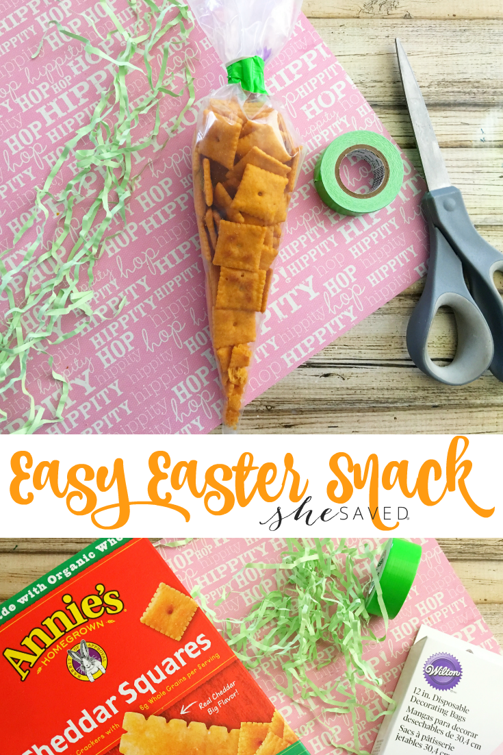 This easy Easter snack is a fun carrot shaped treat that is great for Easter baskets or classroom parties!
