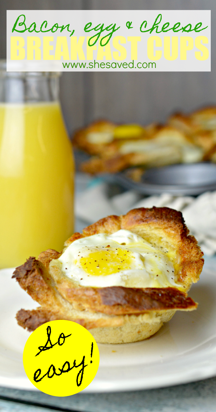 bacon egg cheese breakfast cups made in a muffin tin