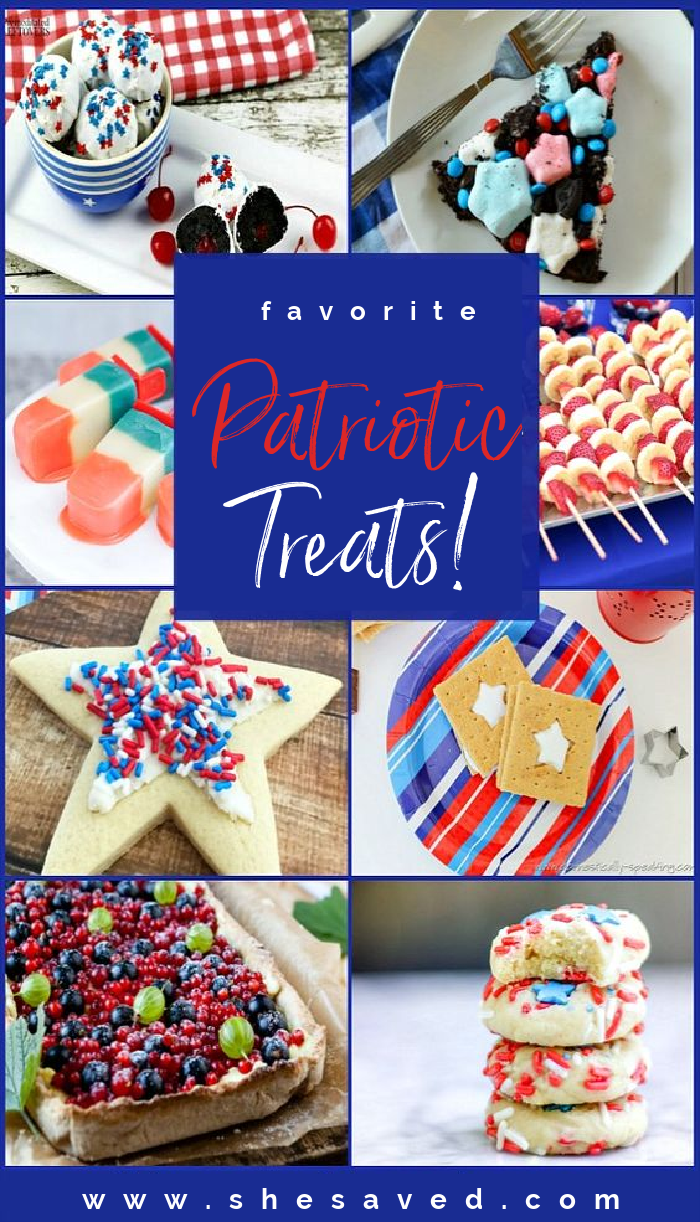 Different 4th of July dessert ideas including cookies and pies and ice cream with red white and blue colors