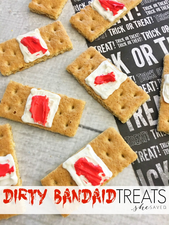 Ewwww! If that's the response you are going for, these Dirty Bandaid Treats will be a hit at your halloween party!
