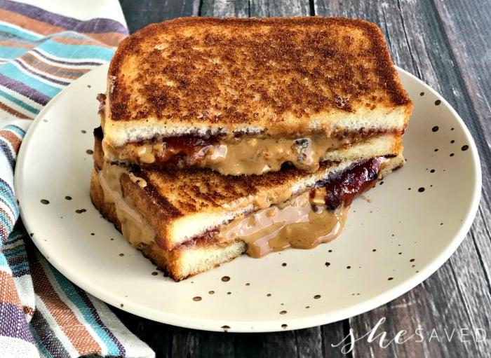 Grilled Peanut Butter Jelly Sandwich Shesaved