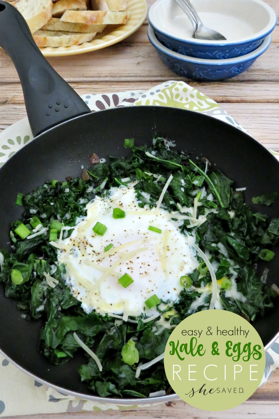 This quick and easy Kale and Eggs recipe will be a favorite for healthy starts in the morning!