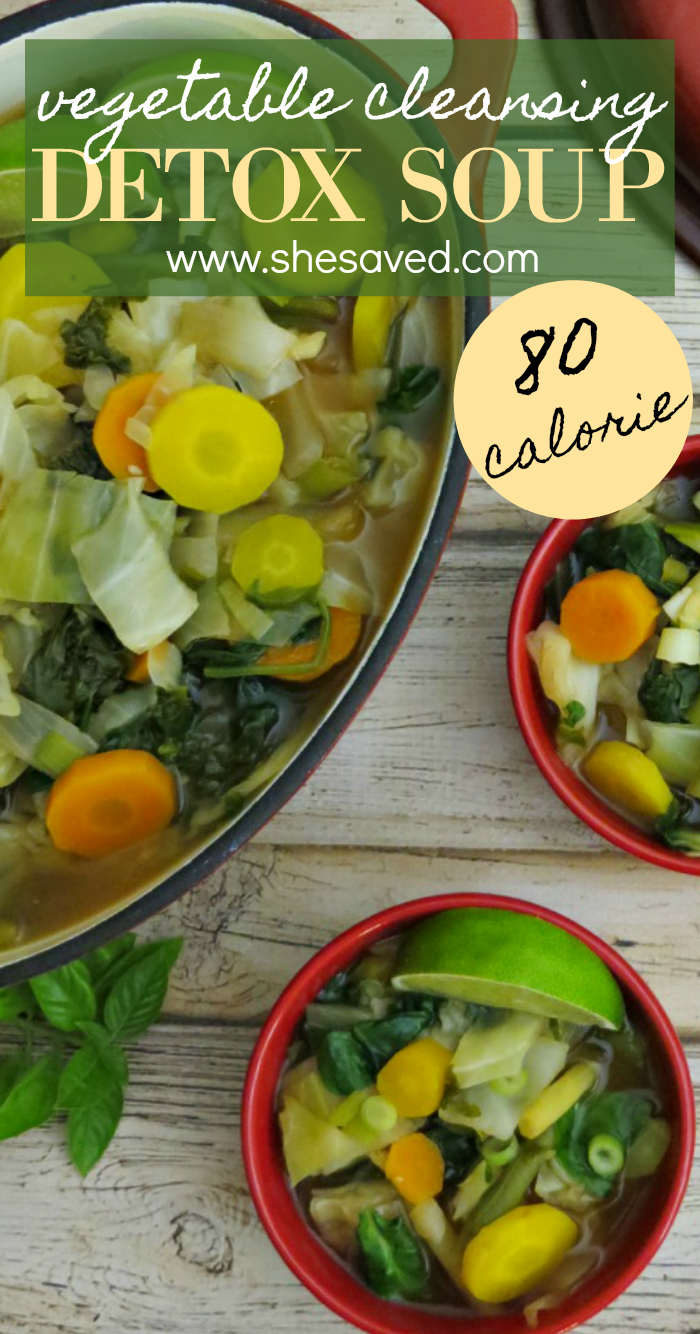 This detox soup recipe is only 80 calories and made with vegetables for a wonderful cleanse your body will love you for!