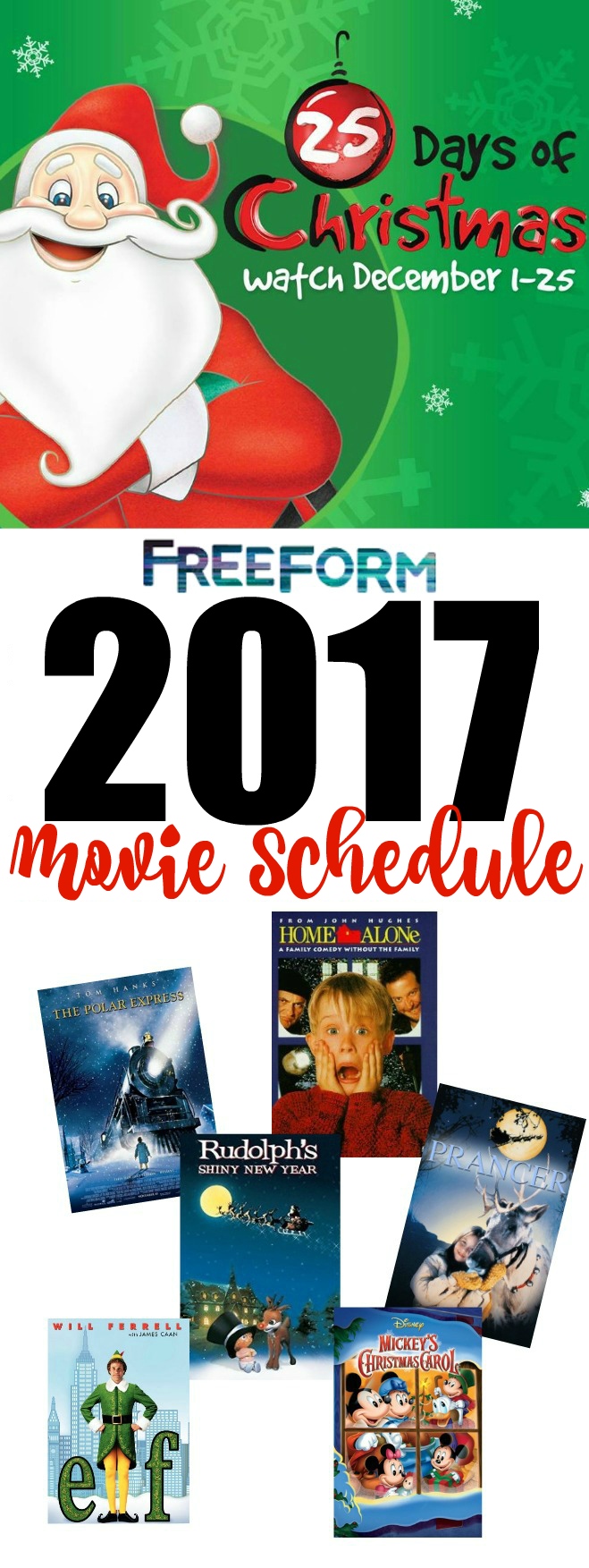 freeform countdown to 25 days of christmas tv schedule for 2017