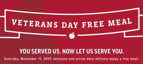 Applebee's Honors Veterans with a FREE Meal on Veterans Day