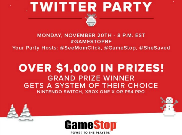 RSVP Here! #GameStopBF Twitter Party Nov 20th at 8pm ET ($1000+ in Prizes!)