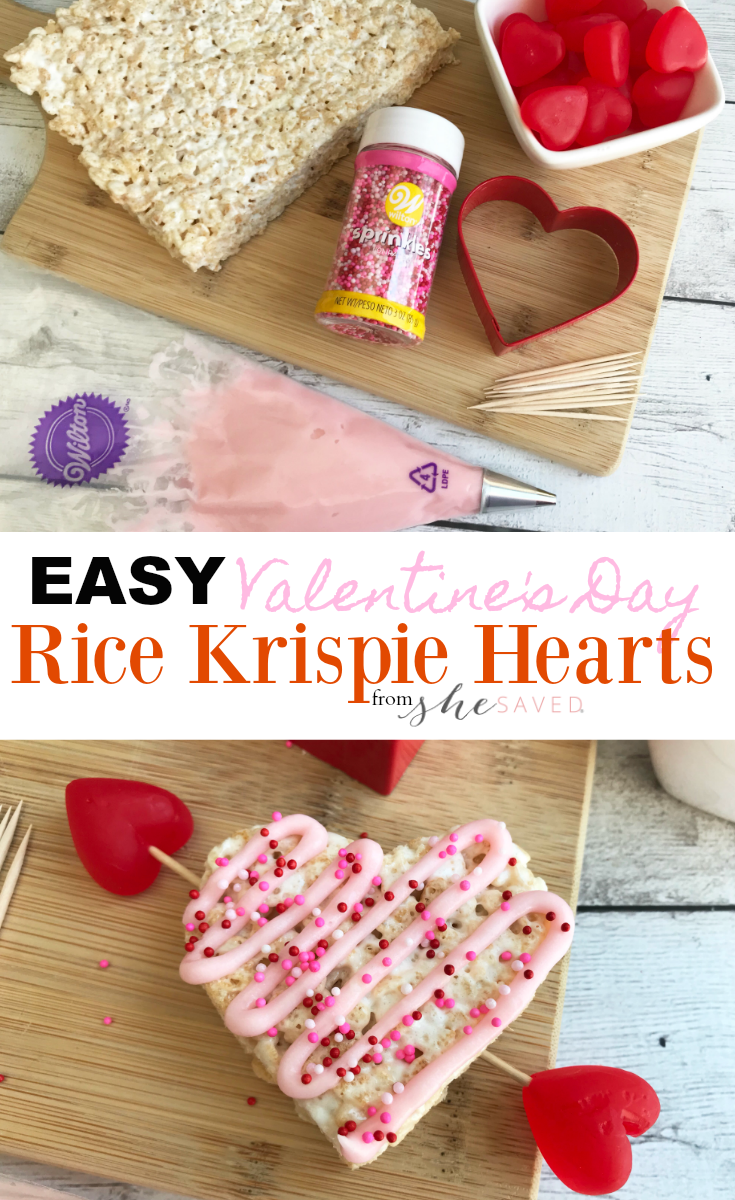 The perfect Valentine's Day party treat, these easy rice krispie hearts will be a hit!