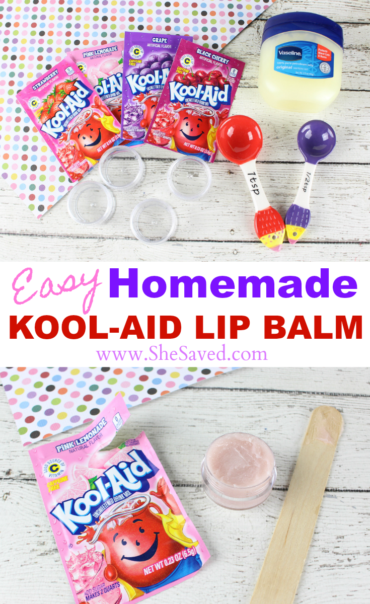 Perfect for parties or group activities this easy homemade Kool-Aid Lip Balm is so fun!
