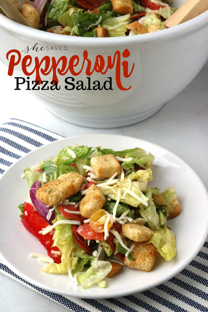 Want an easy dinner and a happy family? This Pepperoni Pizza salad is a favorite around here!