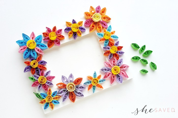 Easy Paper Quilling Craft: Quilled Flower Frame - SheSaved®