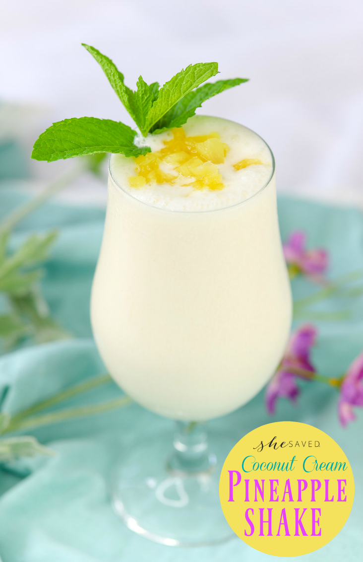 SO refreshing! This Coconut Cream Pineapple Shake Recipe will be your new favorite refreshing drink!