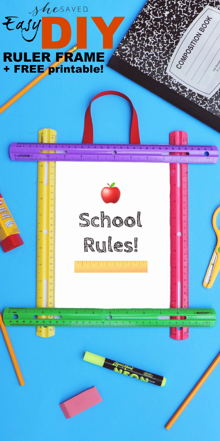 Make B2S fun with this EASY DIY Back to School FREE printable and cute ruler frame!