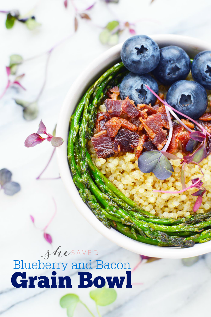 Looking for healthy meal ideas? This Blueberry and Bacon Grain Bowl is SO yummy and so easy to make!