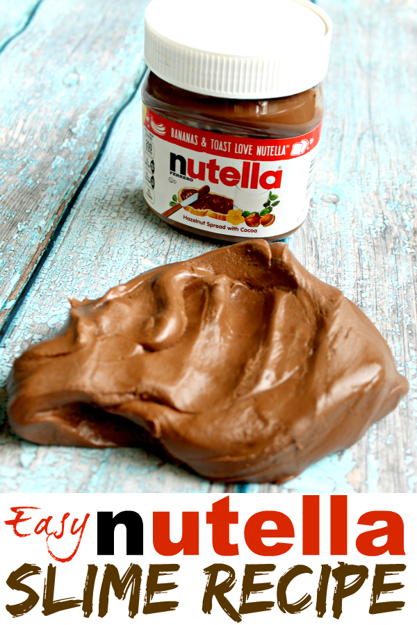 This Easy Nutella Slime recipe has only TWO ingredients and is the perfect edible slime recipe!